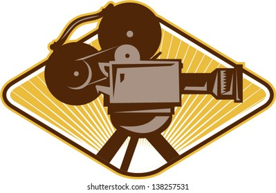 Illustration of a vintage movie film motion-picture camera set inside diamond shape done in retro style.
