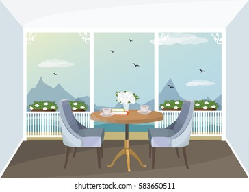 Illustration of vintage porch interior with table, chairs and seaside view.