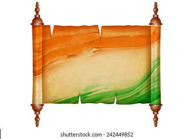 illustration of vintage scroll with antique paper in Indian Flag