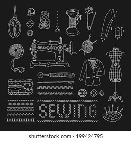 Illustration of vintage sewing accessories. Vector. Doodle. Isolated.