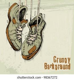 illustration of vintage shoe hanging on grungy background