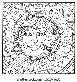 Illustration of vintage stylized magic sun and moon. Hand drawn vector. Can be used for cards, invitations, fabrics, wallpapers, scrap-booking, ornamental template for design and decoration, etc