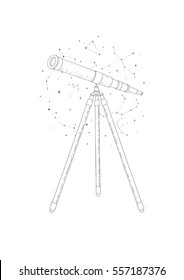 Illustration with vintage telescope