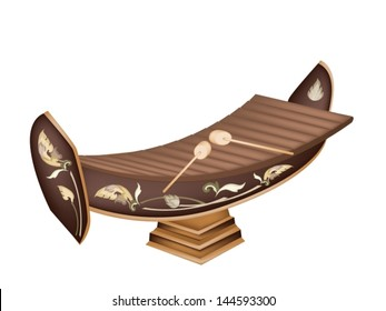 An Illustration of A Vintage Thai Alto Xylophone Isolated on White Background, A traditional Thailand Musical Instrument Known as 'Ranad'
