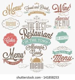 Illustration of  Vintage Typographical  Element for Menu