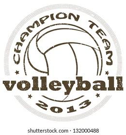 illustration of vintage volleyball sport label. sports logo element