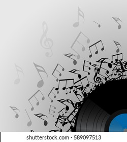 Illustration of vinyl record with music notes with space for text. Vector element for presentations, covers and your creativity