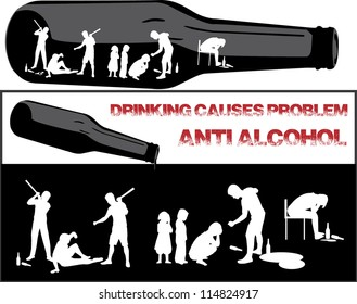 illustration of violence and causes from drinking alcohol