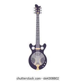 Illustration of a violet Dobro Guitar resonator in a vector