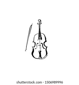 Illustration of a violin and bow. Ink drawing.