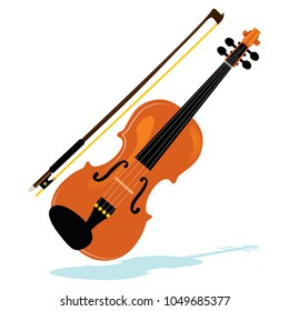 Illustration of violin with bow philharmonic orchestra instrument