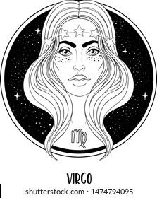Illustration of Virgo astrological sign as a beautiful girl. Zodiac vector drawing isolated in black and white. Future telling, horoscope, alchemy, spirituality. Coloring book for adults.