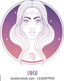 Illustration of Virgo astrological sign as a beautiful girl. Zodiac vector illustration isolated on white. Future telling, horoscope, alchemy, spirituality, occultism, fashion woman.