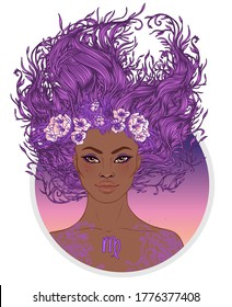 Illustration of Virgo astrological sign as a beautiful African American girl. Zodiac vector illustration isolated on white. Future telling, horoscope, alchemy, spirituality, fashion black woman.