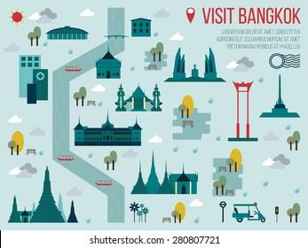 Illustration of Visit Bangkok Travel Map Concept