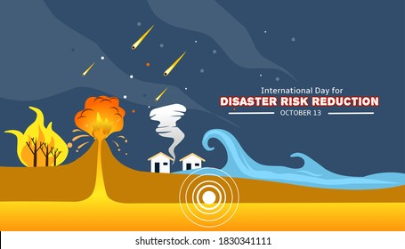 Illustration of volcanic eruptions, forest fires, tornadoes, falling meteors, earthquakes and tsunamis, as a banner for The International Day for Disaster Risk Reduction.