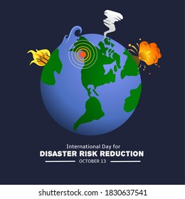 Illustration of volcanic eruptions, forest fires, tornadoes, earthquakes and tsunamis, as a banner for The International Day for Disaster Risk Reduction.