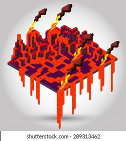 illustration of volcano concept in isometric graphic