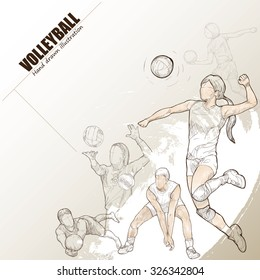 illustration of volleyball. Hand drawn. volleyball poster. Sport background.