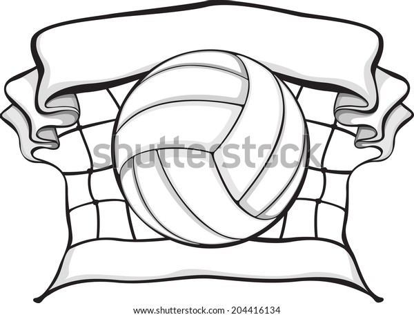 illustration of a volleyball in the middle of a folded net.