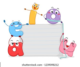Illustration of Vowel Mascots with Blank Paper Board