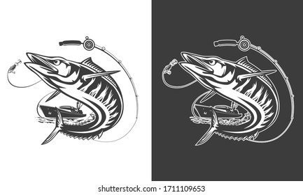 Illustration of a wahoo , Acanthocybium solandri, a scombrid fish jumping up viewed from the side set on isolated white background done in retro style.