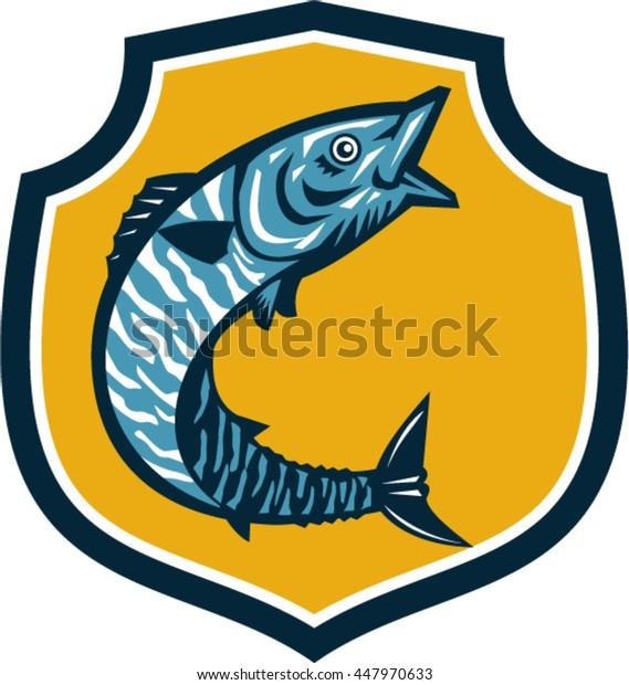 Illustration of a wahoo , Acanthocybium solandri, a scombrid fish jumping up viewed from the side set inside shield crest on isolated background done in retro style.