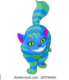 Illustration of walking Cheshire Cat