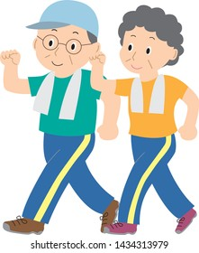 Illustration of walking elderly couple