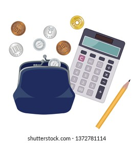 Illustration of wallet and Japanese yen (coin) and calculator, image of making money of household money