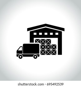 Illustration of warehouse icon on white background