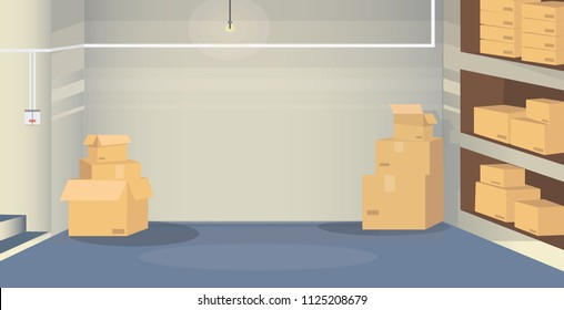 Illustration of a warehouse room with boxes situated in basement. Background scene for your design project.