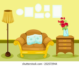 illustration of warm living room