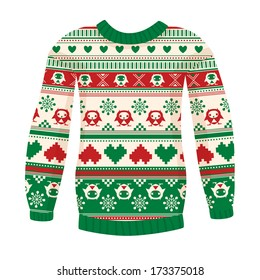 Illustration of warm sweater with owls and hearts. Red-Green version. May be used for winter design, cards, posters and many other.