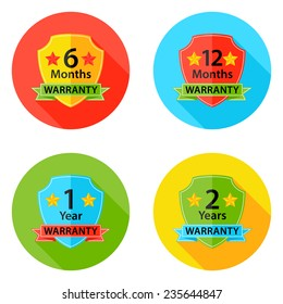 Illustration of Warranty Flat Circle Icons Set 1 with Shadow. 6 months, 12 months, 1 year, 2 years.