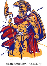 An illustration of a warrior character or sports mascot