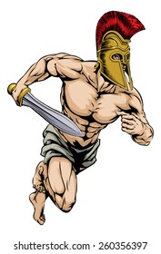 An illustration of a warrior or gladiator character or sports mascot  in a trojan or Spartan style helmet holding a sword