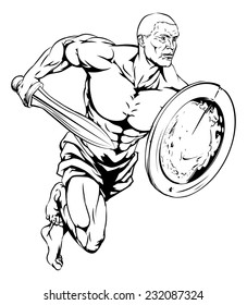 An illustration of a warrior or gladiator man character or sports mascot holding a sword and shield