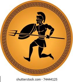 illustration of a warrior in a greek ceramic