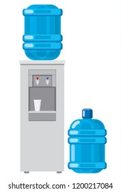 illustration of water cooler with full bottle