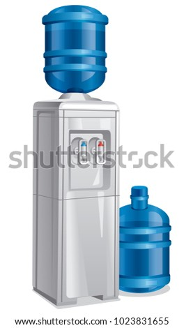 illustration of water cooler with full bottles