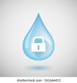 Illustration of a water drop with a lock pad