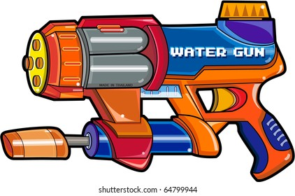 Illustration water gun isolated on a white background, illustrator Vector