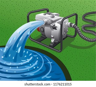 illustration of water pump power generator