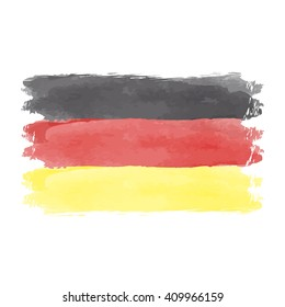 Illustration of watercolor flag of Germany. German flag vector. Black red yellow flag vintage style. Watercolor state symbol of Germany