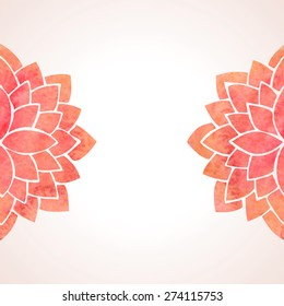 Illustration with watercolor red lotus flowers. Oriental chinese, japanase, indian theme. Silhouettes of lotus on white background. Vector illustration