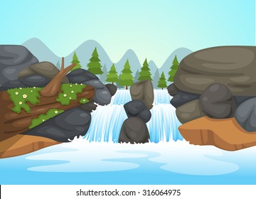 illustration of  waterfall landscape vector