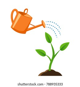 Illustration of watering the young plants from a watering can. a small plant growing in the ground/ Flat style.