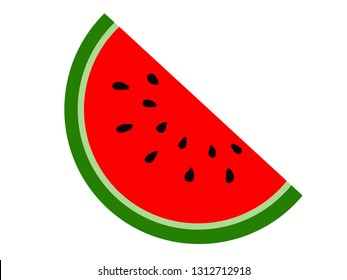 Illustration of watermelon slice. Concept of healthy lifestyle and ripe fruits