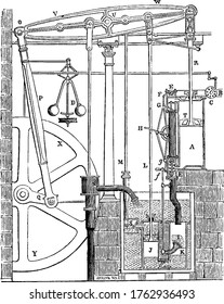 Illustration of Watt Steam Engine, invented by James Watt also called Father of the Modern Steam Engine, vintage line drawing or engraving illustration.